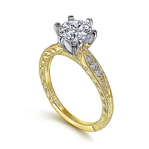 Kate 14k Yellow And White Gold Round Straight Engagement Ring angle 3