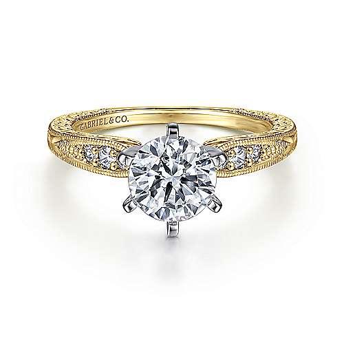 Gabriel - Kate 14k Yellow/white Gold Round Straight Engagement Ring