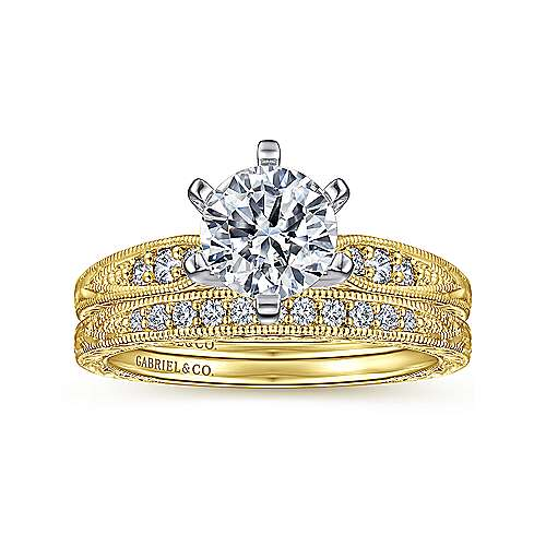 Kate 14k Yellow/white Gold Round Straight Engagement Ring angle 4