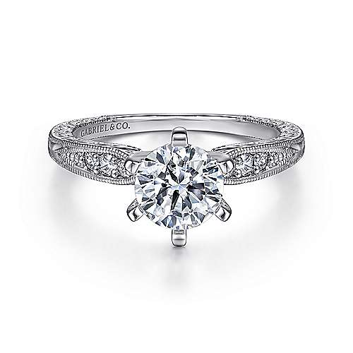 Gabriel - Kate Platinum Round Straight Engagement Ring