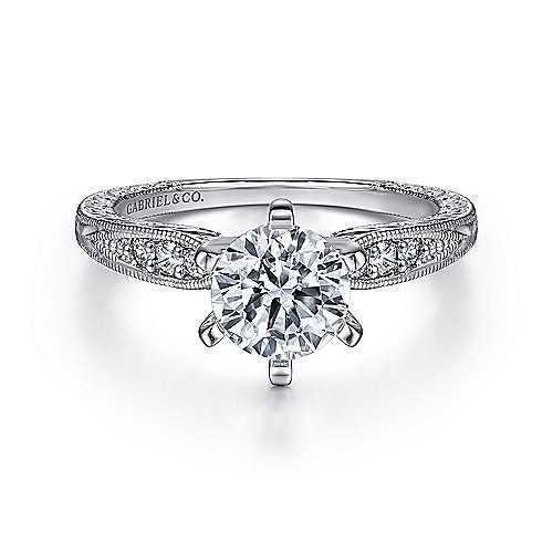 Gabriel - Kate Platinum Round Straight Engagement Ring