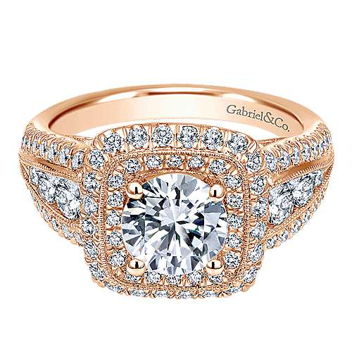 Gabriel - Kathleen 14k Rose Gold Round Halo Engagement Ring