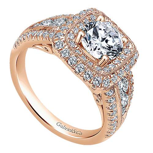Kathleen 14k Rose Gold Round Halo Engagement Ring angle 3