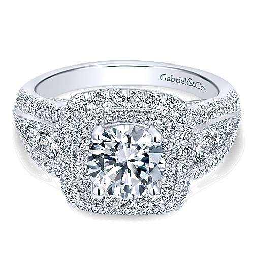 Gabriel - Kathleen 14k White Gold Round Double Halo Engagement Ring
