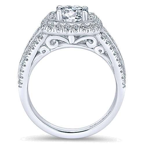 Kathleen 14k White Gold Round Double Halo Engagement Ring angle 2