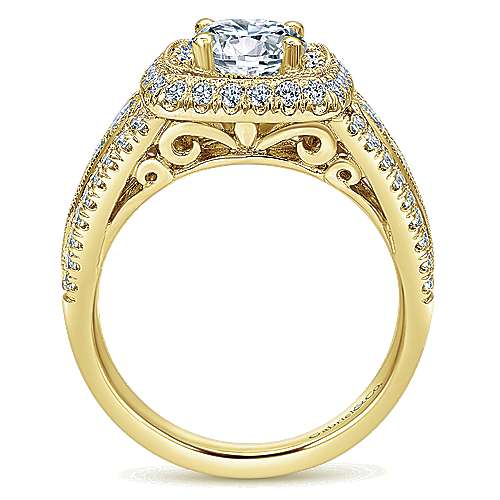 Kathleen 14k Yellow Gold Round Halo Engagement Ring angle 2
