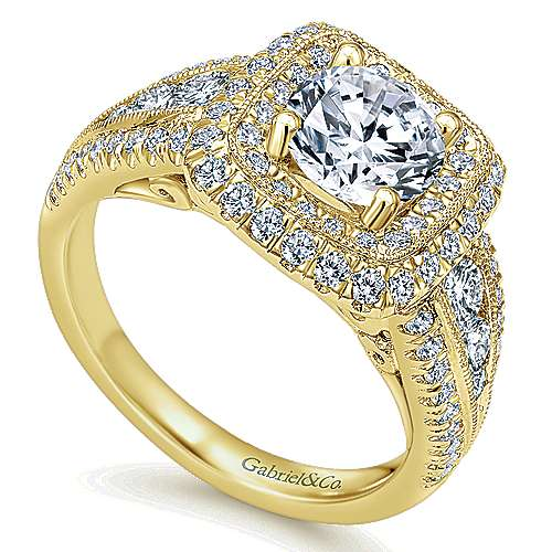 Kathleen 14k Yellow Gold Round Halo Engagement Ring angle 3