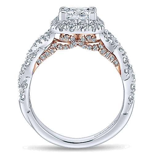 Katrina 14k White And Rose Gold Princess Cut Halo Engagement Ring angle 2