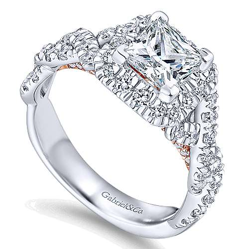 Katrina 14k White And Rose Gold Princess Cut Halo Engagement Ring