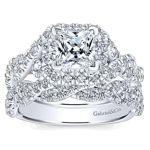 Katrina 14k White And Rose Gold Princess Cut Halo Engagement Ring angle 4