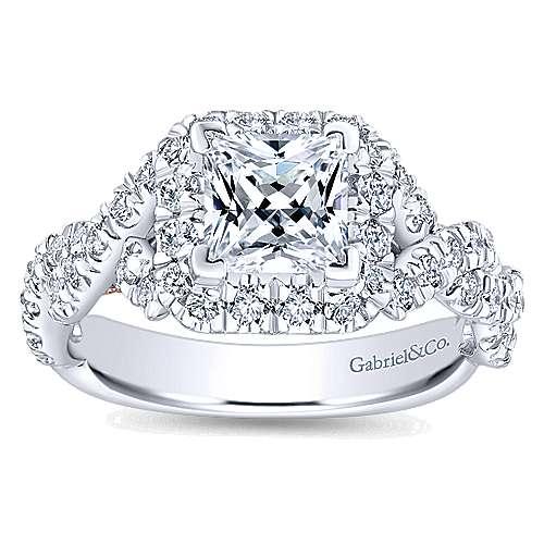 Katrina 14k White And Rose Gold Princess Cut Halo Engagement Ring angle 5