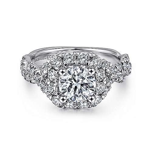 Katrina 14k White And Rose Gold Round Halo Engagement Ring angle 1
