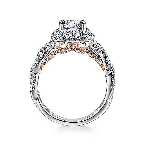 Katrina 14k White And Rose Gold Round Halo Engagement Ring angle 2