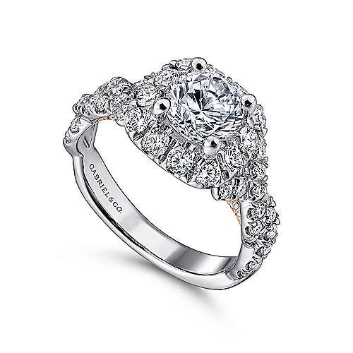 Katrina 14k White And Rose Gold Round Halo Engagement Ring angle 3