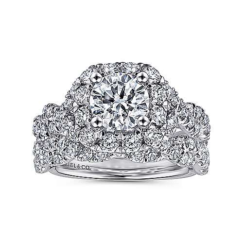 Katrina 14k White And Rose Gold Round Halo Engagement Ring angle 4