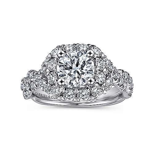 Katrina 14k White And Rose Gold Round Halo Engagement Ring angle 5