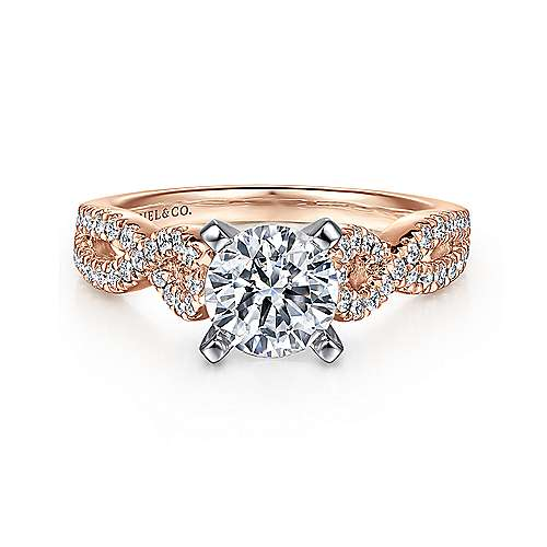 Gabriel - Kayla 14k White And Rose Gold Round Twisted Engagement Ring
