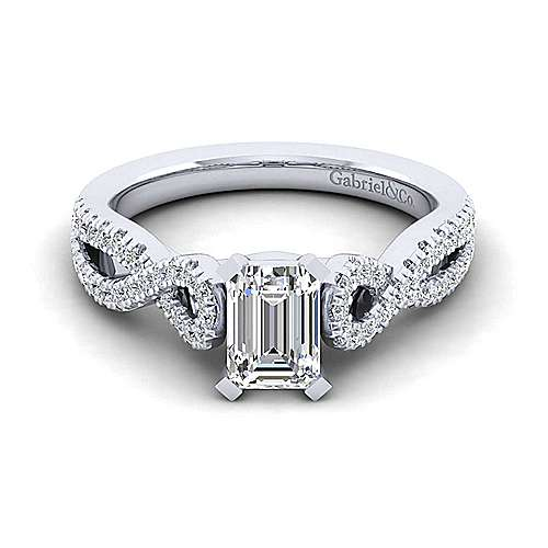 Kayla 14k White Gold Emerald Cut Twisted Engagement Ring angle 1