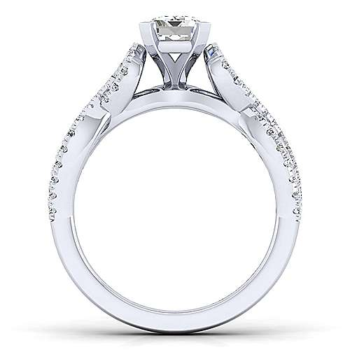 Kayla 14k White Gold Emerald Cut Twisted Engagement Ring angle 2