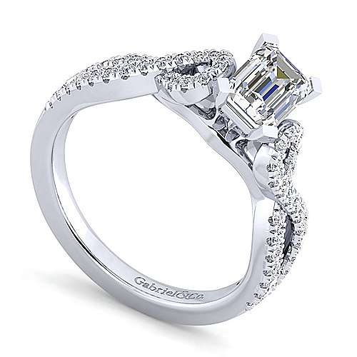 Kayla 14k White Gold Emerald Cut Twisted Engagement Ring angle 3