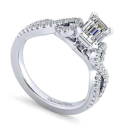 Kayla 14k White Gold Emerald Cut Twisted Engagement Ring