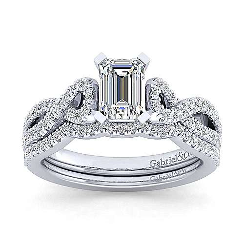 Kayla 14k White Gold Emerald Cut Twisted Engagement Ring angle 4