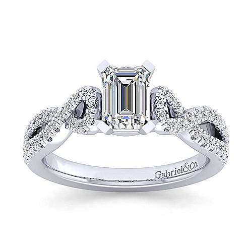 Kayla 14k White Gold Emerald Cut Twisted Engagement Ring angle 5