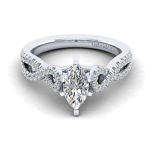 Kayla 14k White Gold Marquise  Twisted Engagement Ring angle 1
