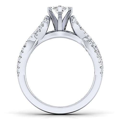 Kayla 14k White Gold Marquise  Twisted Engagement Ring angle 2