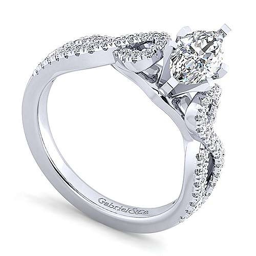 Kayla 14k White Gold Marquise  Twisted Engagement Ring angle 3