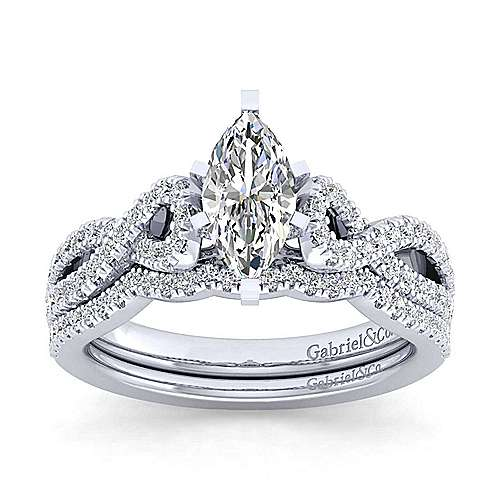 Kayla 14k White Gold Marquise  Twisted Engagement Ring angle 4