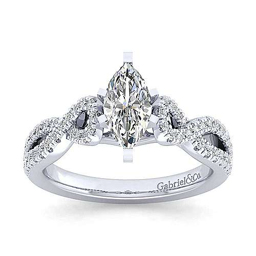 Kayla 14k White Gold Marquise  Twisted Engagement Ring angle 5