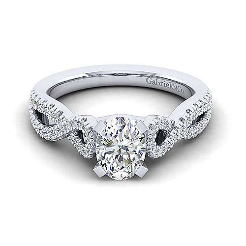 Kayla 14k White Gold Oval Twisted Engagement Ring angle 1