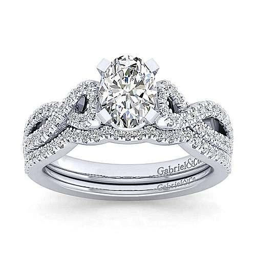 Kayla 14k White Gold Oval Twisted Engagement Ring angle 4