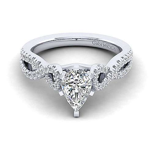 Gabriel - Kayla 14k White Gold Pear Shape Twisted Engagement Ring