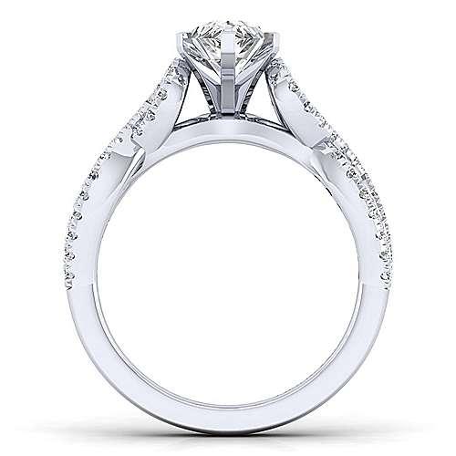 Kayla 14k White Gold Pear Shape Twisted Engagement Ring angle 2