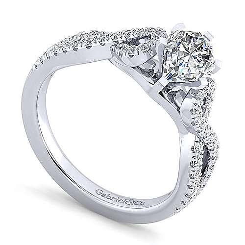 Kayla 14k White Gold Pear Shape Twisted Engagement Ring angle 3
