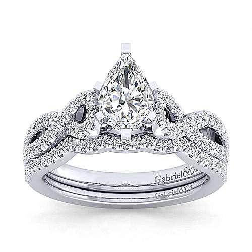 Kayla 14k White Gold Pear Shape Twisted Engagement Ring angle 4