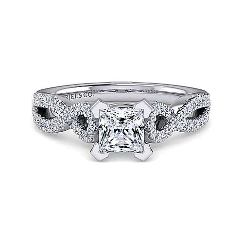 Kayla 14k White Gold Princess Cut Twisted Engagement Ring angle 1