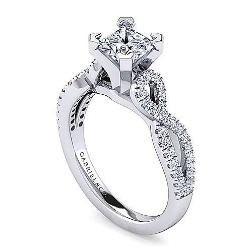 Kayla 14k White Gold Princess Cut Twisted Engagement Ring angle 3