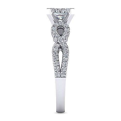 Kayla 14k White Gold Princess Cut Twisted Engagement Ring angle 5