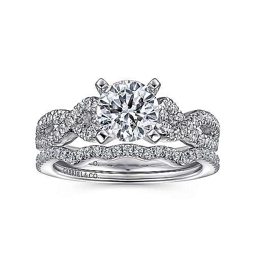 Kayla 14k White Gold Round Twisted Engagement Ring angle 4