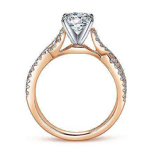 Kayla 14k White/rose Gold Round Twisted Engagement Ring angle 2