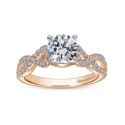 Kayla 14k White/rose Gold Round Twisted Engagement Ring angle 5