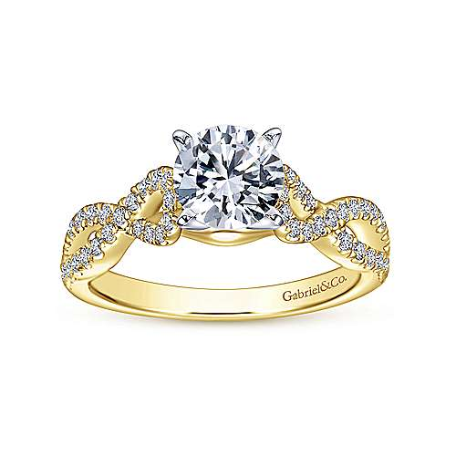 Kayla 14k Yellow And White Gold Round Twisted Engagement Ring angle 5
