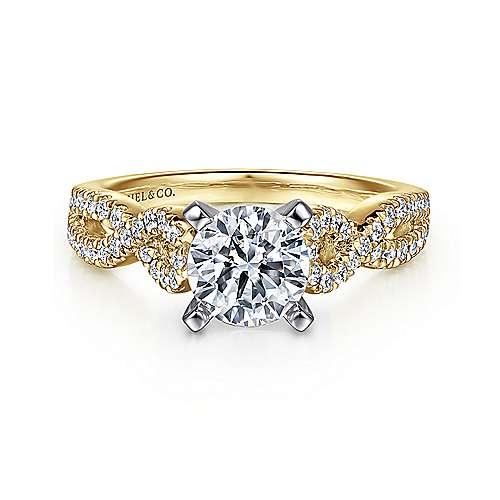 Gabriel - Kayla 14k Yellow/white Gold Round Twisted Engagement Ring
