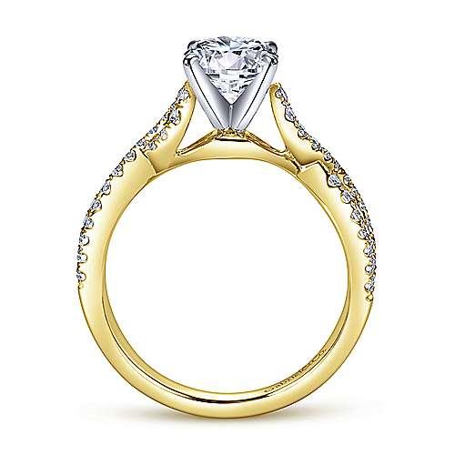 Kayla 14k Yellow/white Gold Round Twisted Engagement Ring angle 2