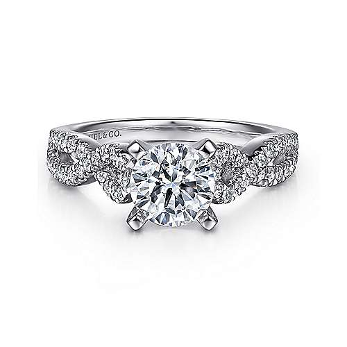Gabriel - Kayla Platinum Round Twisted Engagement Ring