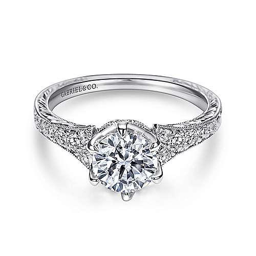 Gabriel - Kearney Platinum Round Straight Engagement Ring