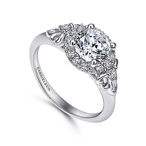 Keisha 18k White Gold Round Halo Engagement Ring angle 3